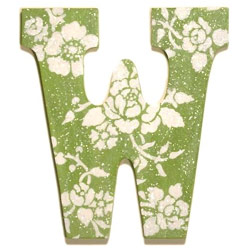 Green Floral Glitter Letters