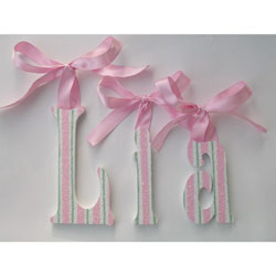 Lia's Candy Cane Glitter Wall Letters