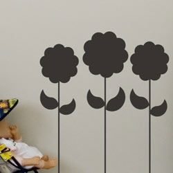 Chalkboard Flowers Wall Decal