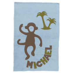 Personalized Monkey Blue Blanket
