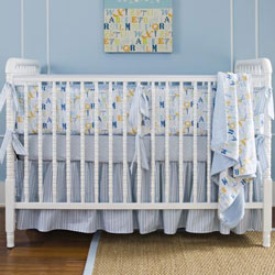 Alphabet Blue Crib Bedding