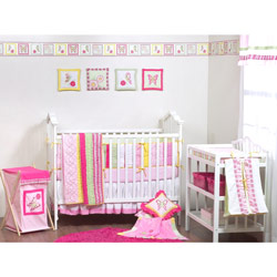 Plaids and Stripes Girls Crib Bedding Set