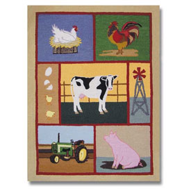Barnyard Rectangular Rug, Boys Farm Animal, Farm House, Barnyard Themed Fur