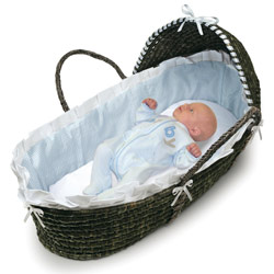 Espresso Moses Basket with Blue Gingham Bedding