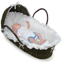 Espresso Hooded Moses Basket with White Bedding