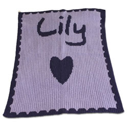 Custom Name, Heart and Scalloped Edge Stroller Blanket
