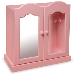 Pink Mirrored Doll Armoire