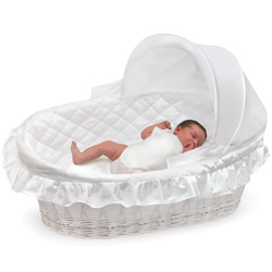 Wicker Moses Basket with Hood