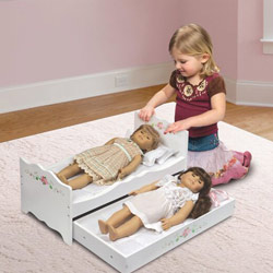 White Rose Doll Bed with Trundle