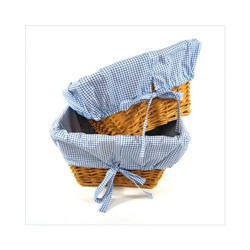 Wicker Baskets with Gingham Liners - Set of 2