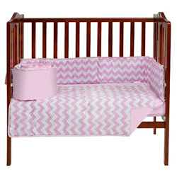 Chevron Porta Crib Bedding Set