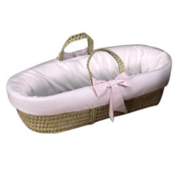Gingham Trim Fitted Moses Basket