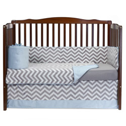 Minky Chevron Crib Bedding Set
