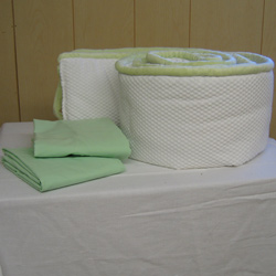 Green Trim 2 Piece Porta Crib Bedding Set