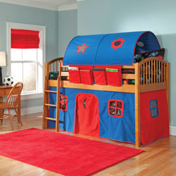 Mansfield Junior Loft with Blue 'n Red Curtains