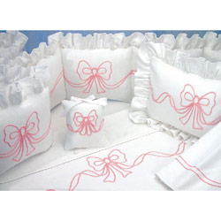 Embroidered Bow Bedding Set