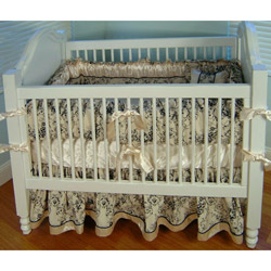 Black Toile Crib Bedding Set