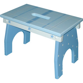 Blue Plaid Step Stool