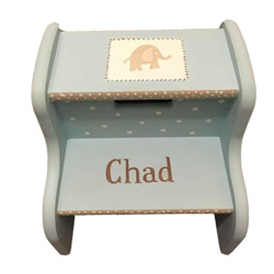 Personalized Blue Elephant Step Stool