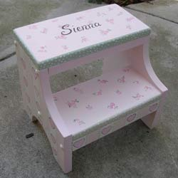 Hearts and Flowers Step Stool