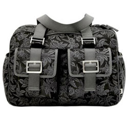 Floral Black and Charcoal Carry All Diaper Bag