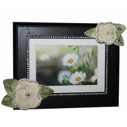 Bling Black Picture Frame with Flowers
