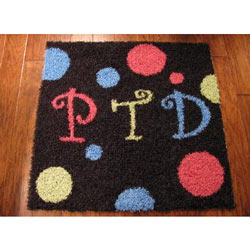 Polka Dot Monogram Square Rug