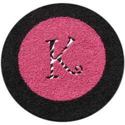 Round Border Rug with Animal Print Initial
