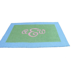 Bordered Rectangle Monogram Rug