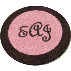 Bordered Round Monogram Rug