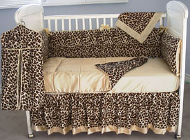 Cheetah Faux Furs & Satin Crib Bedding