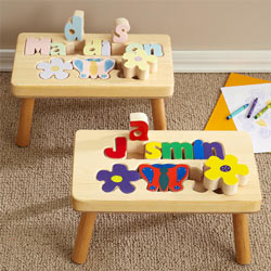 Flower 1 Name Puzzle Stool