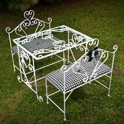 Sophisticate Glass Table and Bench Set