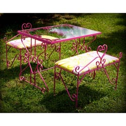 Elegant Glass Table and Bench Set