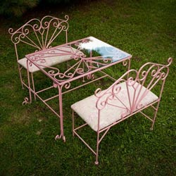 Opulent Glass Table and Bench Set