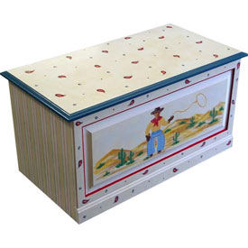 Hand Painted Cowboy Toybox