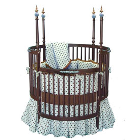 Chocolate Brown and Blue Round Crib Bedding