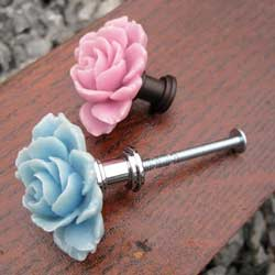 Full Bloom Rose Furniture Knob