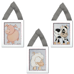 Cow, Pig, and Sheep Wall Hangings