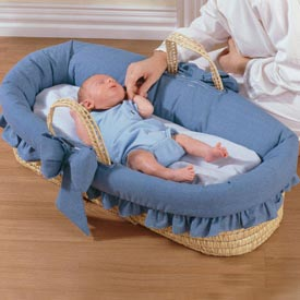 Denim Ruffled Moses Basket