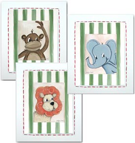 Junior Jungle Animals Framed Canvas