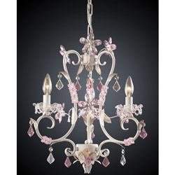 Elise Antique White and Rose Chandelier