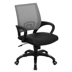 Mesh Computer Chair With Leather Seat