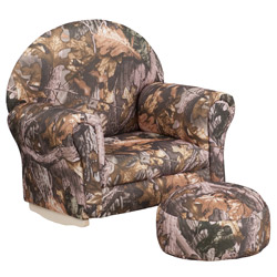 Kids Camouflage Fabric Rocker Chair and Footrest