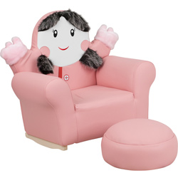 Pink Little Girl Rocker and Footrest