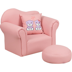 Kids Pink Chair with Footrest and Throw Pillow