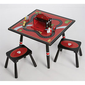 Firefighter Table and 2 Stool Set