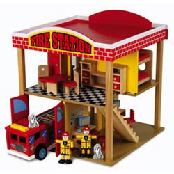 Firehouse with Truck & 20 Piece Accessory Set