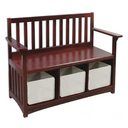 Classic Espresso Storage Bench with Bins