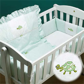 Turtle Applique Cradle Bedding
